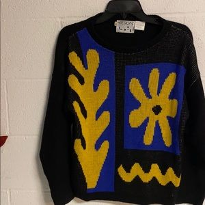 Design brand sweater colorful graphic on front Med